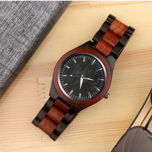 Mens red and brown wooden watch