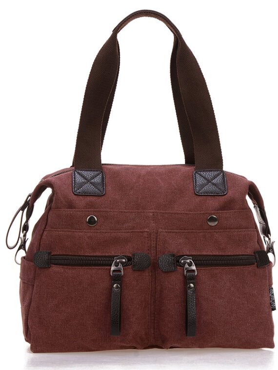 Womens burgundy canvas messenger bag