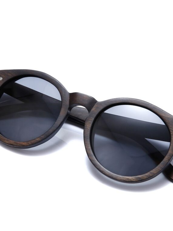 Womens dark brown retro wooden sunglasses