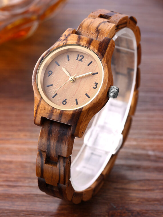 Womens light brown wooden wrist watch